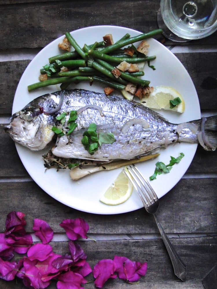 steamed sea bream & bean and bread salad