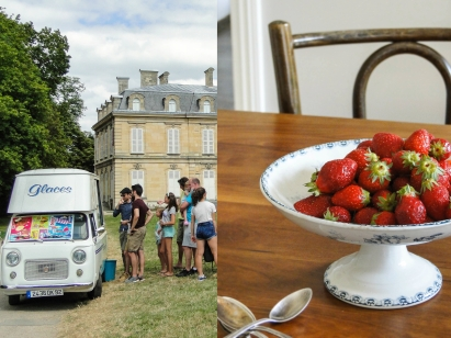 ice cream car&strawberries